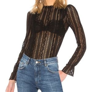 Amuse Society Black All About That Lace Top Size M